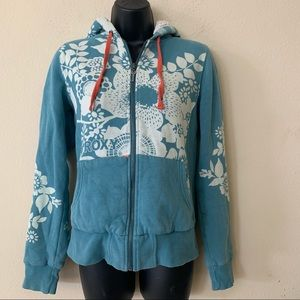 Roxy Quicksilver Floral Sherpa Lined Hooded Zip Up